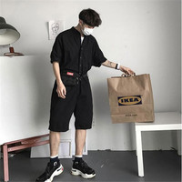 Fashion Jumpsuit Mens Rompers High Street Shorts Jumpsuit Male Handsome Baggy Overalls Short Sleeve Palysuit Cargo A5613