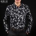 Мерсеризованный хлопок рубашка мужчина с длинным рукавом 2017 весна животных печати тонкий мужской clothing рубашка легкий уход