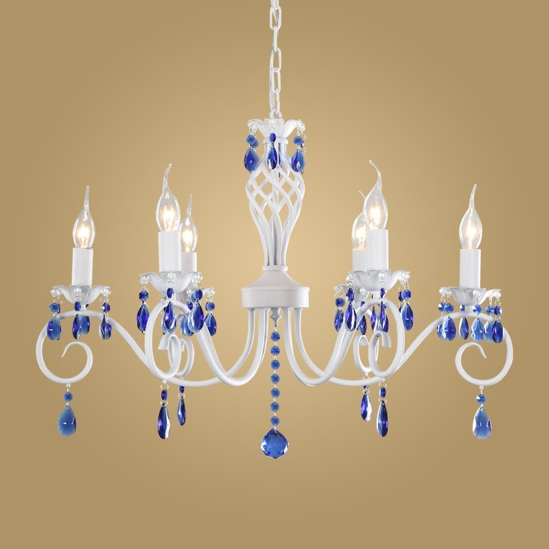 Free shipping Modern Crystal Chandelier for Kitchen Bedroom Hanging Mediterranean White Chandelier Blue Crystal
