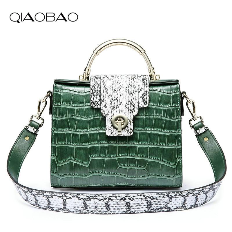 QIAOBAO 2018 Women Crocodile Bag 100% Genuine Leather Women Handbag Hot Selling Tote Women Bag Large Bags Sales stylish women s tote bag with clip closure and crocodile print design