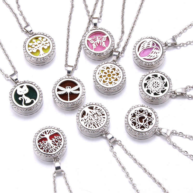 new style tree of life Aroma Diffuser Zircon Necklace Stainless steel Pendant Perfume Essential Oil Aromatherapy Locket Necklace