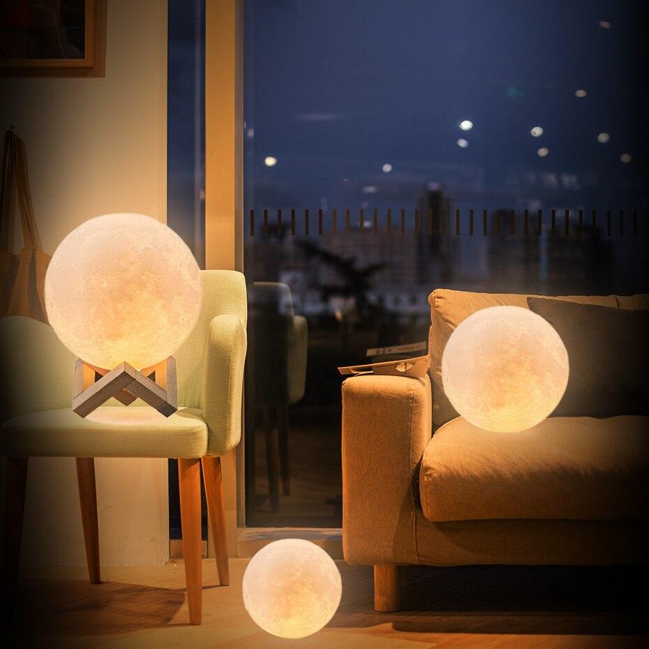 Luz recargable de la noche del 3D imprimir Luna lámpara 16/2 cambio de Color Interruptor táctil/remoto dormitorio estantería luz de noche regalo creativo
