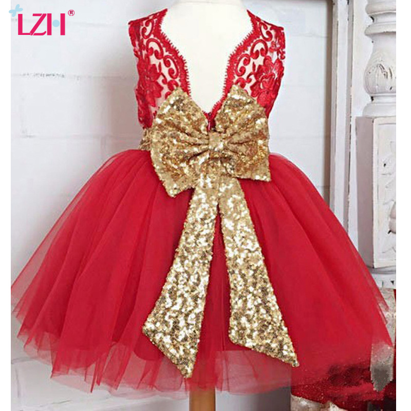 LZH Kids Baby Girls Dress Flower Girls Wedding Dress Infant Party Dresses Christmas Princess Costume For Girls Children Clothes new year flowers flower dresses for wedding party baby girls christmas party princess clothing children summer dresses