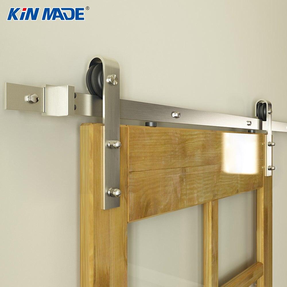 KINMADE Satin Nickel brossé acier au carbone grange porte matériel en bois porte coulissante système 6.6ft (pas de panneau de porte)