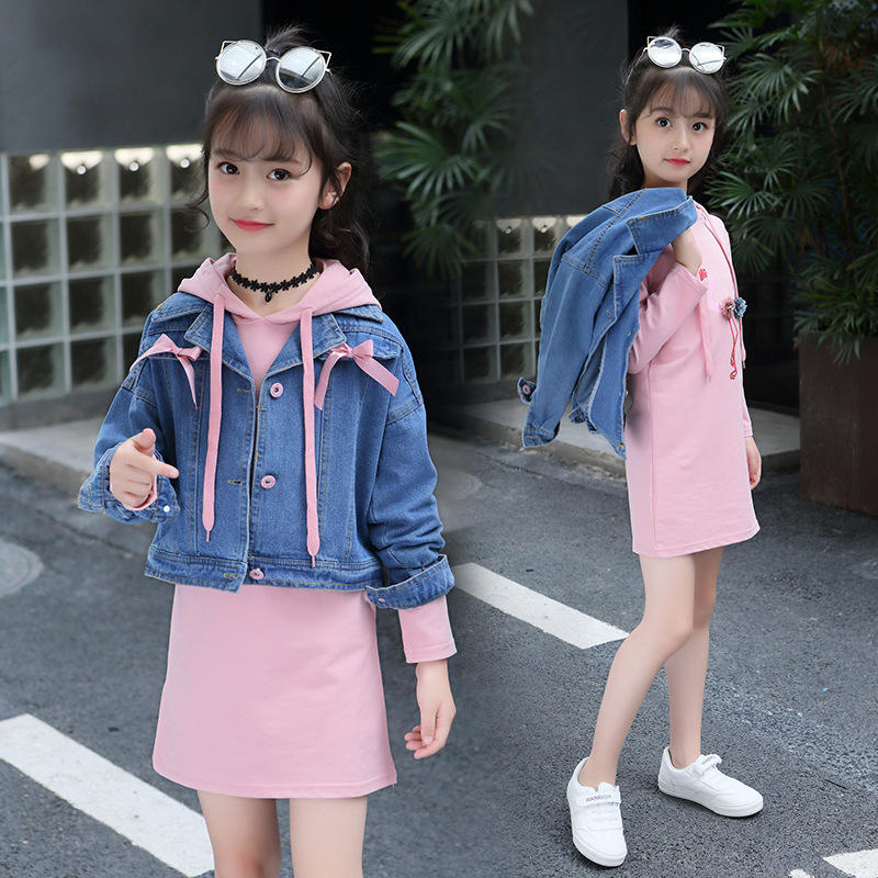 8997c10bfae8b Girls Denim Jackets T Shirt Dress Suit for Children Clothes Girls Outfits 8  10 Year Teen Girls Clothing Set Spring Kids Clothes