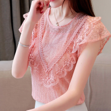 Chiffon shirt lace Ruffle Fashion Short sleeve summer Blouses shirt hollowed Women top New pink chiffon Lace shirt Sexy 320H3 недорого