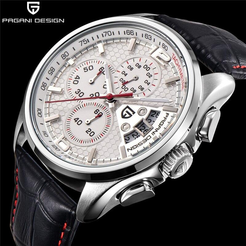 Los hombres relojes de cuarzo PAGANI diseño de lujo marcas de moda tiempo movimiento militar relojes de cuarzo de cuero relogio masculino