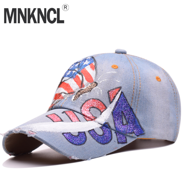 04f0983a5f3 MNKNCL High Quality Butterfly USA Flag Painting Jean Baseball Cap  Adjustable Hip Hop Cap Leisure Snapback Hats