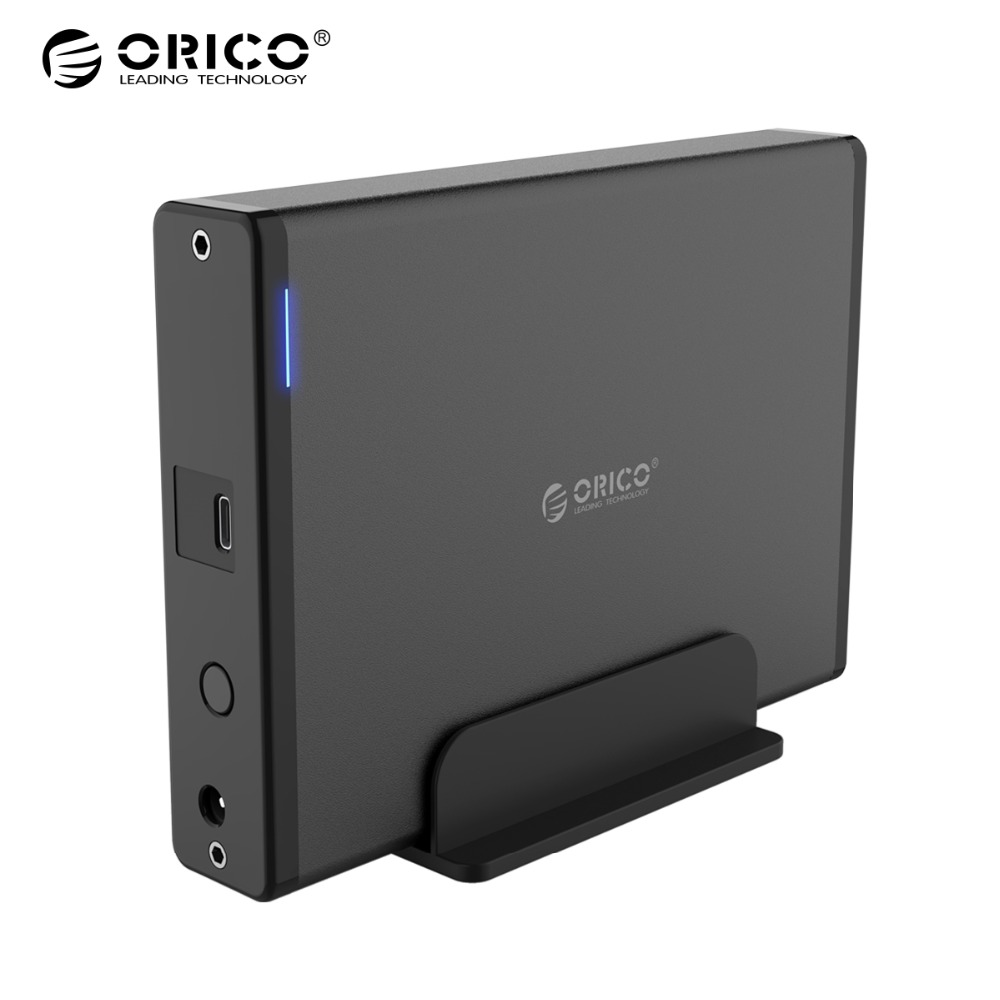 ORICO 3.5 Type-C to SATA III Vertical USB 3.1 to SATA 3.0 External Hard Drive Enclosure for HDD/SSD adapter Support 8TB & UASP 1pc usb 3 0 to 2 5in sata 3 hard drive adapter cable with dc5525 interface w uasp for ssd hdd convenience 17aug28