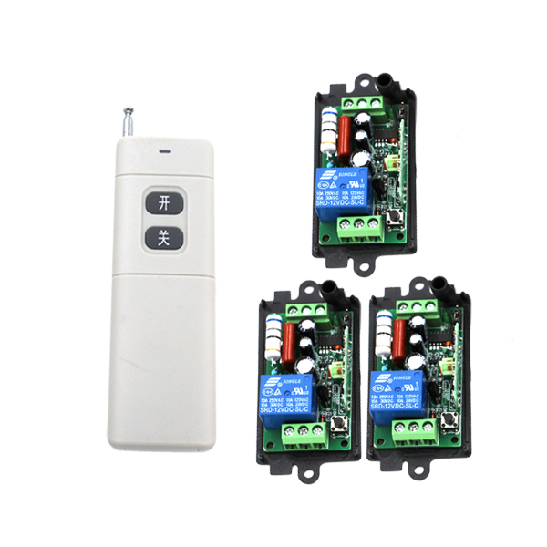 New Arrival for AC 220V 1CH Small Channel Wireless Remote Control Radio Switch 315mhz 1 Transmitter + 3 Receiver 200m SKU: 5226