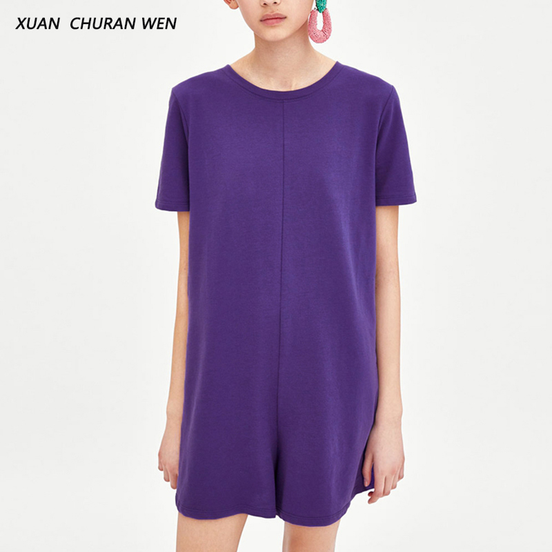 XUANCHURANWEN Summer Women Short Sleeve Playsuits Solid Color Slim Casual Female Shorts Jumpsuits XL1311