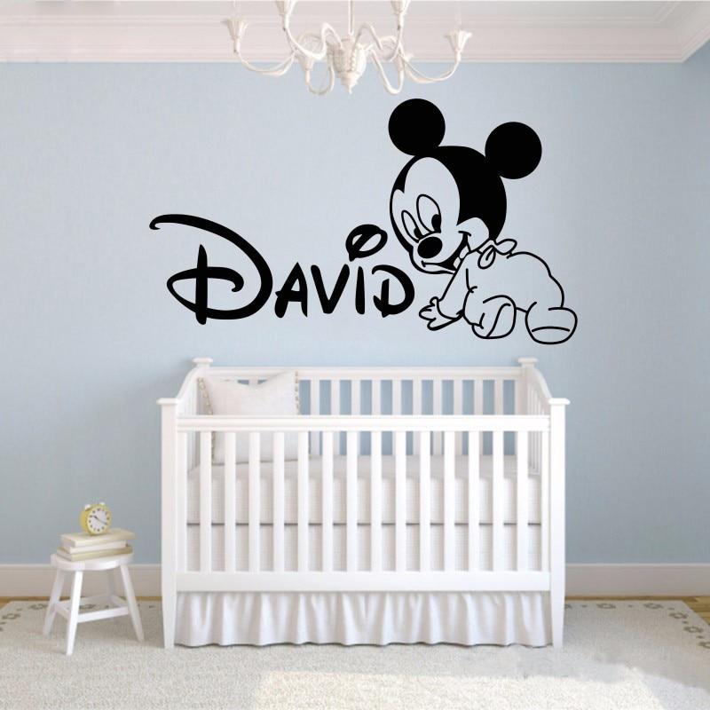 Kreativ Ny DIY söt Mikke Mus Custom Kids Namn baby vägg - Heminredning - Foto 2