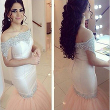 Sexy Off Shoulder Boat Neck Appliques Sequined Tulle Mermaid Formal font b Evening b font font
