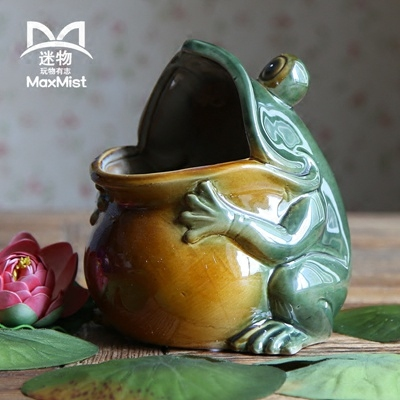 Ceramic Creative Retro Frog Flower Vase Pot Home Decor Handicraft Room Decoration Porcelain
