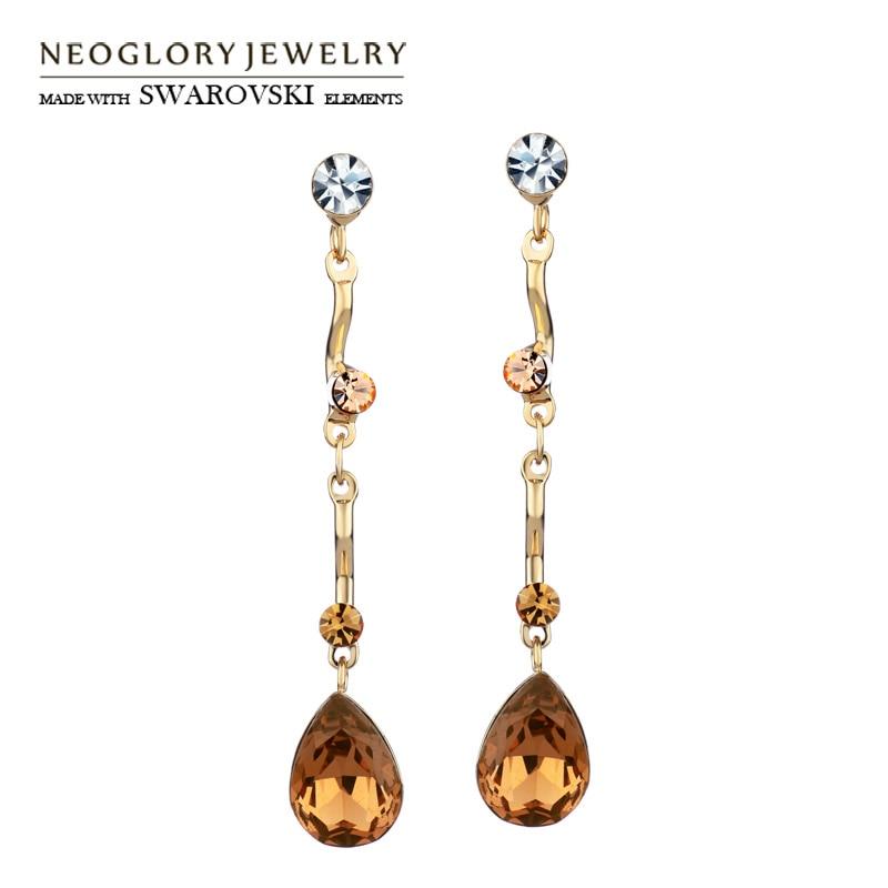 Neoglory Austria Crystal & Auden Rhinestone Pendientes largos de gota Estilo de gota de agua Joyería Romántica Moda Señora Regalo de vacaciones