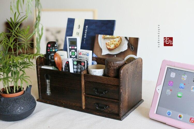 Boîte de rangement de bureau Paulownia à bois de style japonais boîte de rangement télécommande/télécommande boîte de rangement tiroir