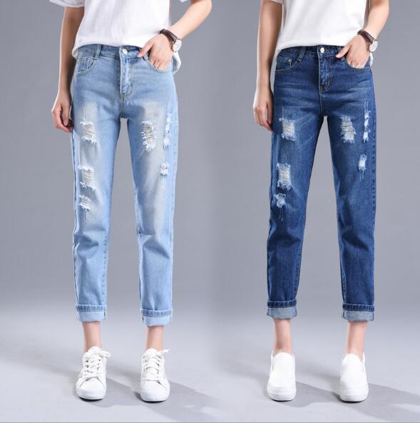 Jeans Woman Ripped 2020 High Waist Denim Pants Women With Hole Lovely Casual Broken Jean Ankle Length Dark/Light Blue Streetwear