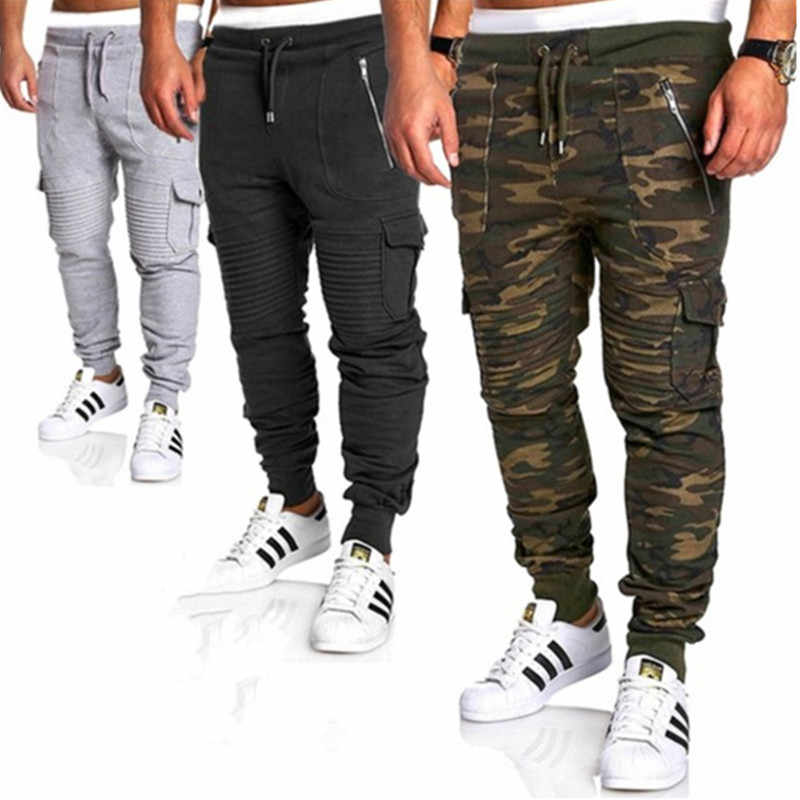 Fashionable spring and autumn new Men fitness jogs camo pants sports pants stripe pleated pants casual pants overalls
