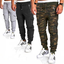 Fashionable spring and autumn new Men fitness jogs camo pants sports pants stripe pleated pants casual pants overalls(China)
