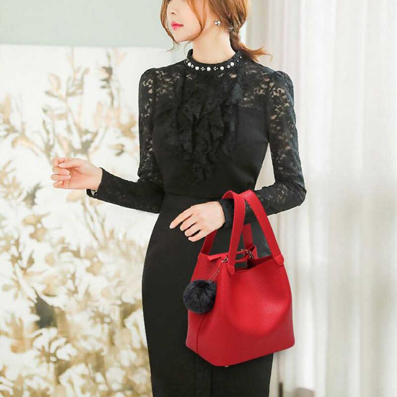 Moda PU deri bayan çanta büyük kadın çanta saç topu omuzdan askili çanta Messenger Crossbody çanta kadınlar için