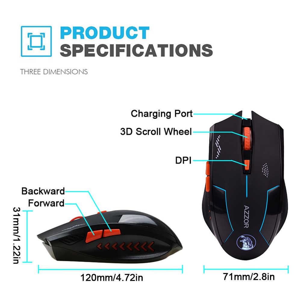 AZZOR перезаряжаемая беспроводная мышь Slient Button компьютерная игровая 1600 точек/дюйм встроенный аккумулятор с зарядным кабелем для ПК ноутбука