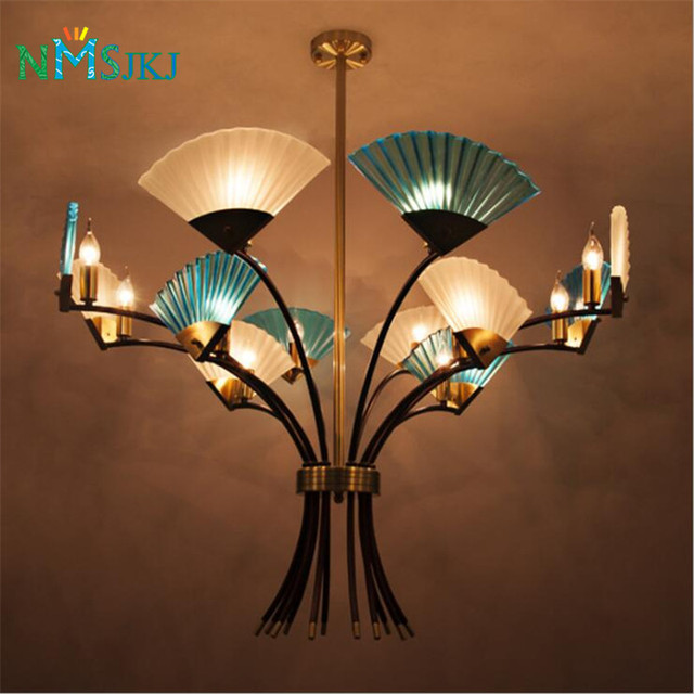 Post Modern LED Iron Pendant Lights Individual Hand Fan For Living - Individual pendant lights
