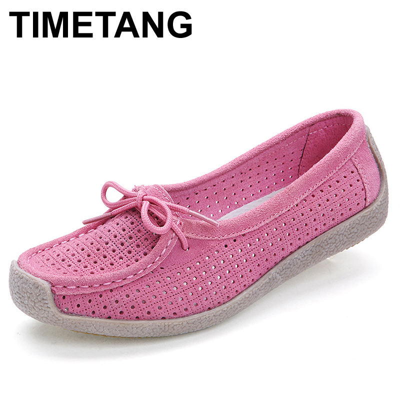 TIMETANG Suede leather moccasins women shoes lace-up genuine leather flats shoes footwear cutout summer spring driving shoes 684 suede shoes
