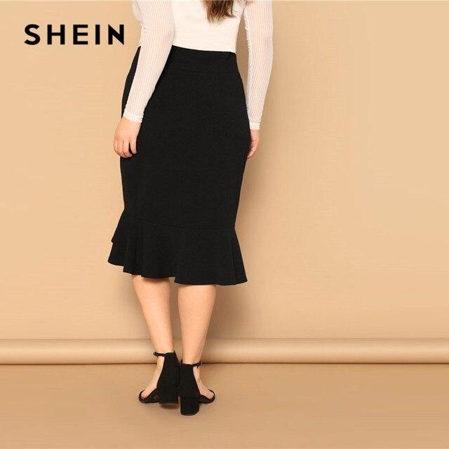 SHEIN Plus Size Asymmetrical Ruffle Hem Black Bodycon Skirt Office Lady Elegant Solid Knee-Length Weekend Casual Pencil Skirts 1