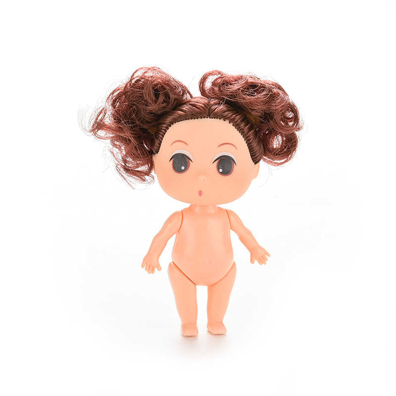 "9cm Doll for Mini Ddung Dolls with Blond Brown Bun Hair Baking Mold Dolls Girl Toys 3.5"" Hot sale"