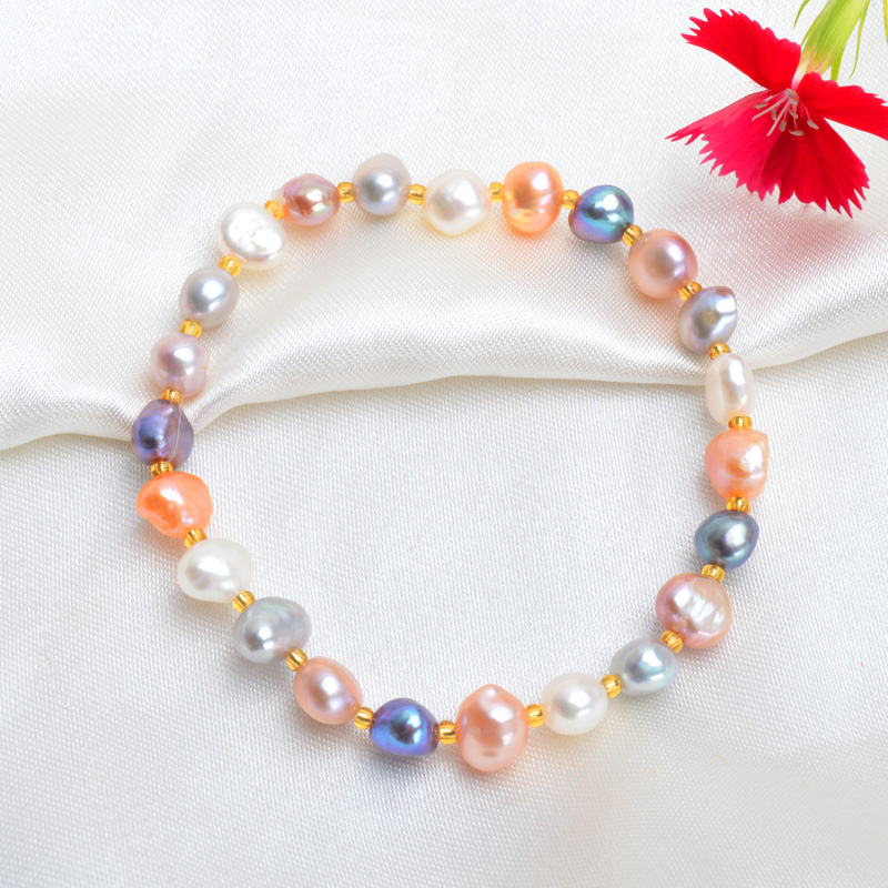 ASHIQI vrais Bracelets et Bracelets de perles baroques d'eau douce naturelles pour les femmes perles de cristal bijoux cadeau