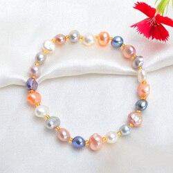 ASHIQI настоящий натуральный пресноводный барочный жемчуг браслеты и браслеты для женщин хрустальные бусины ювелирные изделия подарок