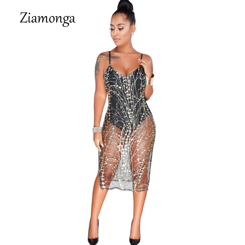 Ziamonga Black Sequined Sexy Club Women Dress 2019 Fashion Deep V Neck Mesh Hollow Out Party Dress Female Knee Length Midi Dress