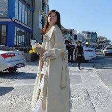 Cream color long belt trench coat for women white plus size Korean new fashion female coats sweety waist with belt цена в Москве и Питере