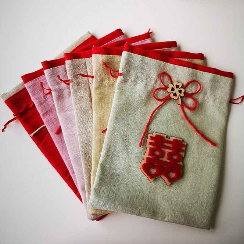 Bolsa de tela creativa de nuevo estilo con cordón para embalaje de dulces, bolsita de joyería, embalaje de regalo