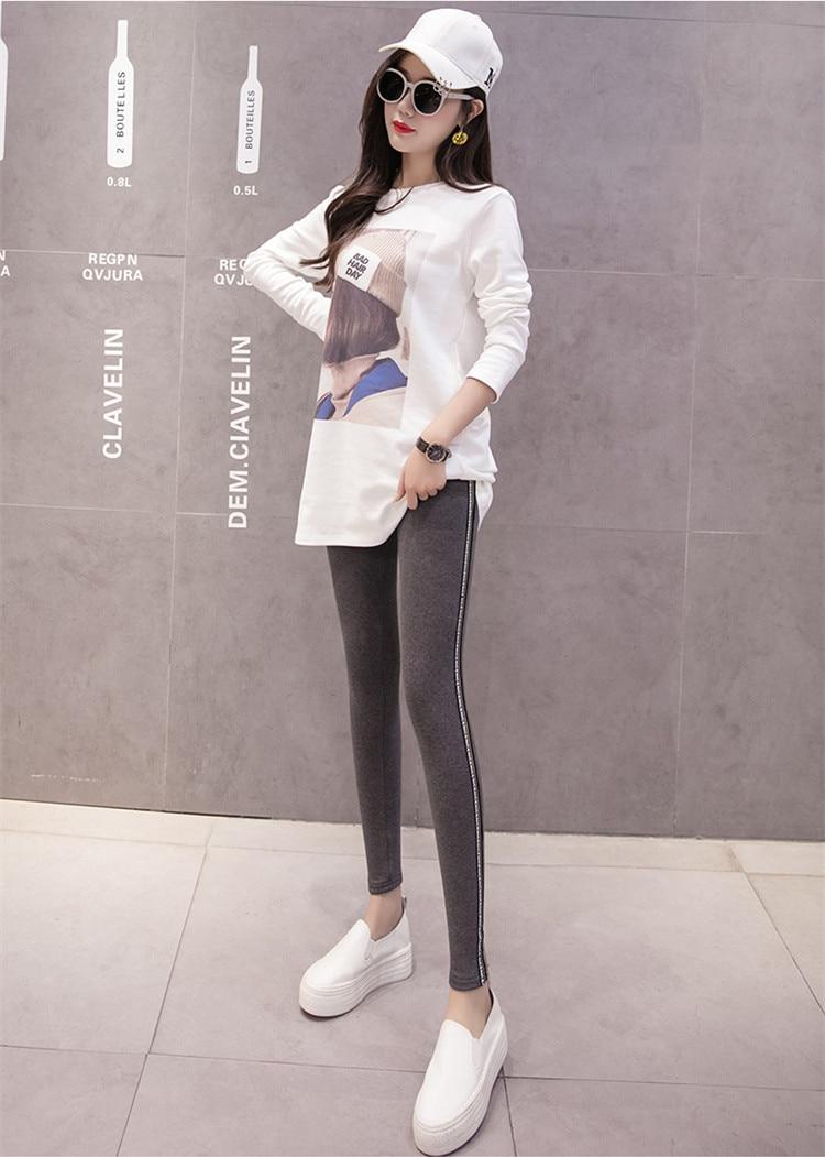High Quality Cotton Leggings Side stripes Women Casual Legging Pant Plus Size 5XL High Waist Fitness Leggings Plump Female 36