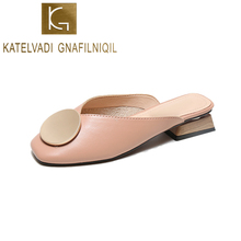 KATELVADI Woman Slippers 2019 Summer Square Low Heels Toe Sweet Cute Slides Sandals Mules Plus Size 42 43 K-417