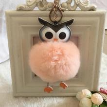 Cute Fluffy Owl Fur pompom Keychain Rabbit Fur Ball bunny key chain pom pom keyring porte clef Key ring llaveros sleutelhanger