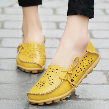 2019 Women Shoes Leather Shoes Moccasins Flats Driving Casual Footwear Women Flats Mother Loafers Soft Shoes WomanCasual Flats 1