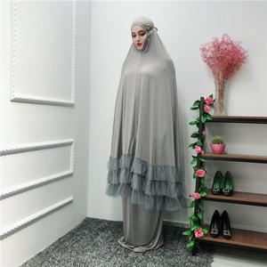 Image 5 - 2 Piece Women Prayer Hijab Dress Dubai Muslim Khimar Jilbab Overhead Abaya Clothing Ramadan Skirt Kaftan Solid Color Set Islamic