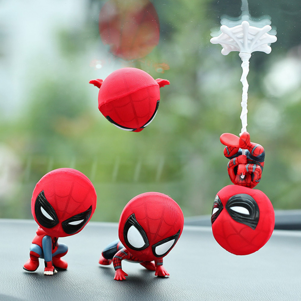 Car Cartoon Spiderman Model Shake Head Toy Resin Ornament Magnet Auto Interior Decoration Doll Furniture Accessories Gift TrimCar Cartoon Spiderman Model Shake Head Toy Resin Ornament Magnet Auto Interior Decoration Doll Furniture Accessories Gift Trim