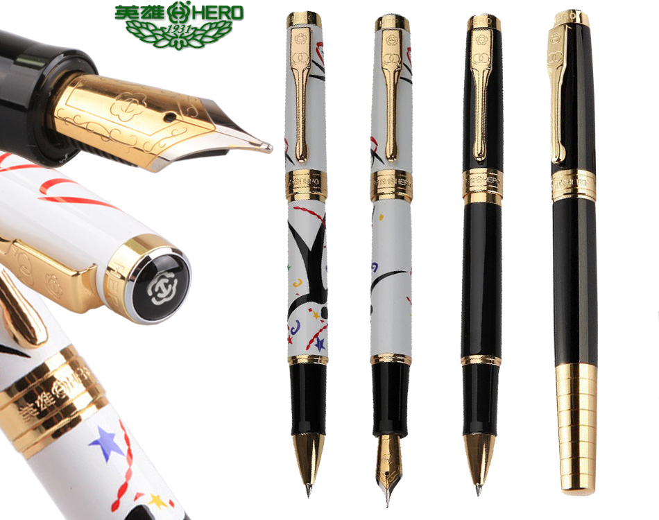 Ink Fountain pen or RollerBall gel pen HERO766 The best gifts  office and school writing pens executive stationery Free Shipping fountain pen fine nib chrome black hero 573 stationery office and school gift free shipping