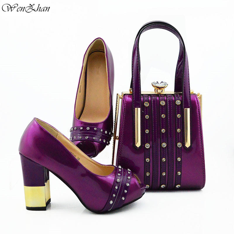 Fashion High Heel Shoes With Matching Bags Set Italy African Womens Party Shoes and Bag Sets Purple Color 38-42 WENZHAN B95-22Fashion High Heel Shoes With Matching Bags Set Italy African Womens Party Shoes and Bag Sets Purple Color 38-42 WENZHAN B95-22