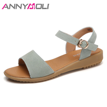Купить с кэшбэком ANNYMOLI Summer Sandals Shoes Women Buckle Flat with Casual Shoes Fashion Open Toe Ladies Sandals 2019 Black Green Size 35-40 9