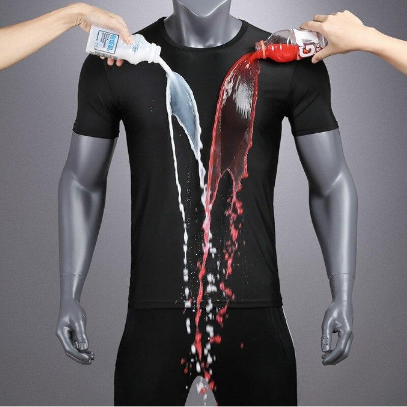 Jeseca Uomini Manica Corta Creativo t-shirt Idrofobo Impermeabile Traspirante Anti-fouling Nero Sezione Sottile di Grandi Dimensioni T-shirt