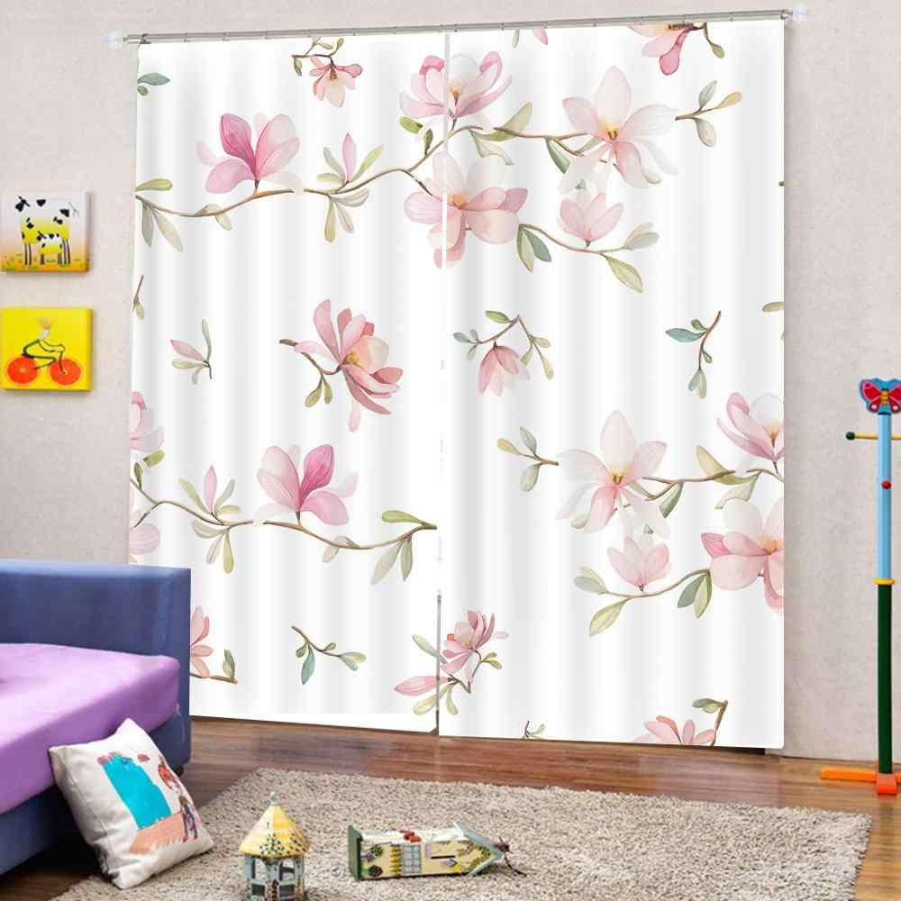 Luxury Blackout 3D Window Curtains For Living Room frech pink flower curtains for girls room Blackout curtain