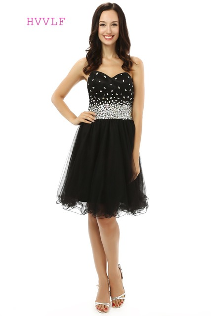 737f0212fbb Elegant 2019 Homecoming Dresses A-line Sweetheart Organza Beaded Crystals  Little Black Dress Sweet 16 Cocktail Dresses