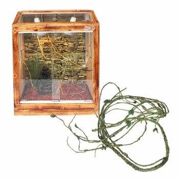 1.1m/1.6m Artificial Rattan Reptile Box Case Decoration Lizard Green Plants Jungle Habitat Reptiles Amphibians Supplies C42 1