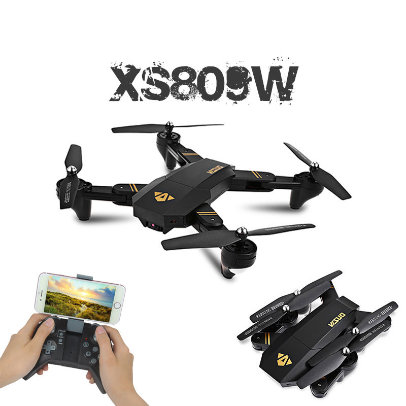 RC Dron Visuo XS809W XS809HW Mini Foldable Selfie Drone with Wifi FPV 0.3MP or 2MP Camera Altitude Hold Quadcopter Vs JJRC H37 jjrc h49 sol ultrathin wifi fpv drone beauty mode 2mp camera auto foldable arm altitude hold rc quadcopter vs e50 e56 e57