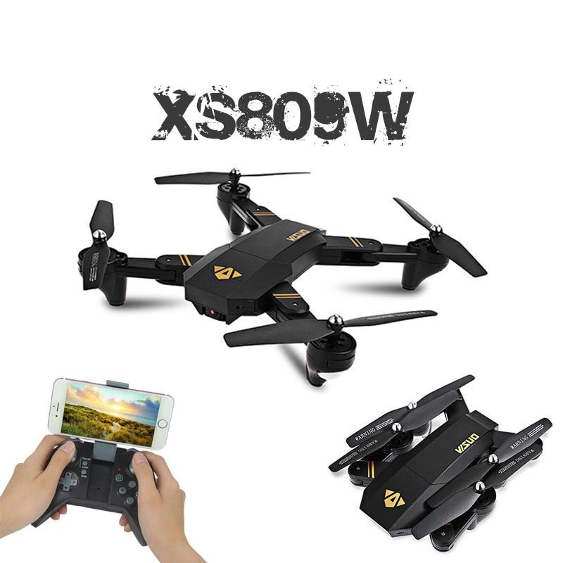 RC Dron Visuo XS809W XS809HW Mini Pliable Selfie Drone avec Wifi FPV 0.3MP ou 2MP Caméra Maintien D'altitude Quadcopter Vs JJRC H37
