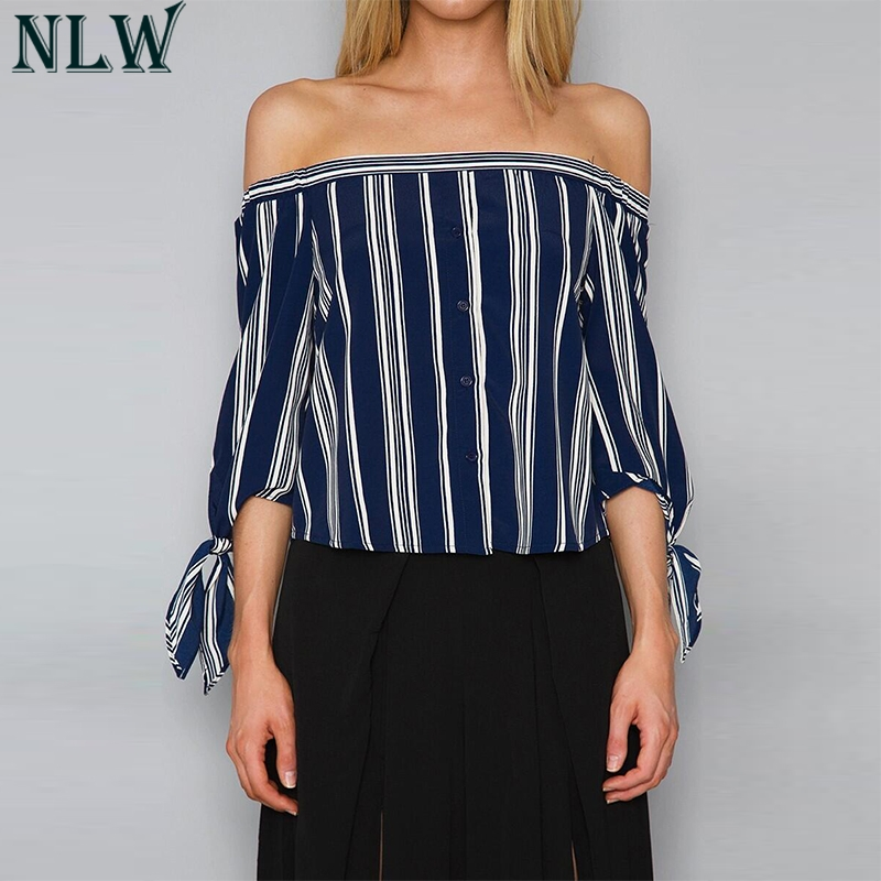 NLW Blue White Striped Blouse Shirt Off Shoulder Bow Knot Summer Blouse Top 2018 Women B ...